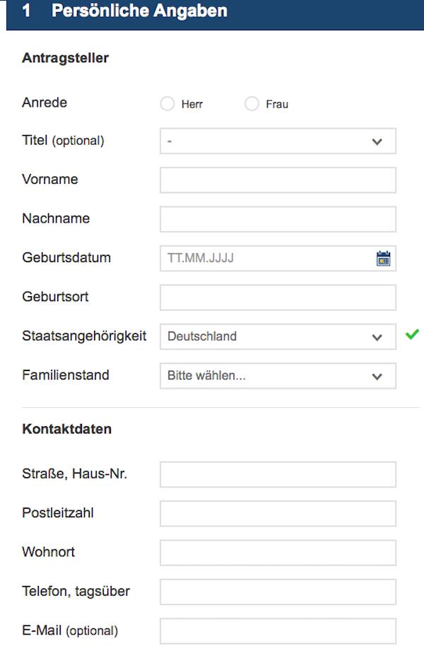 Der Online-Antrag für die Depoteröffnung