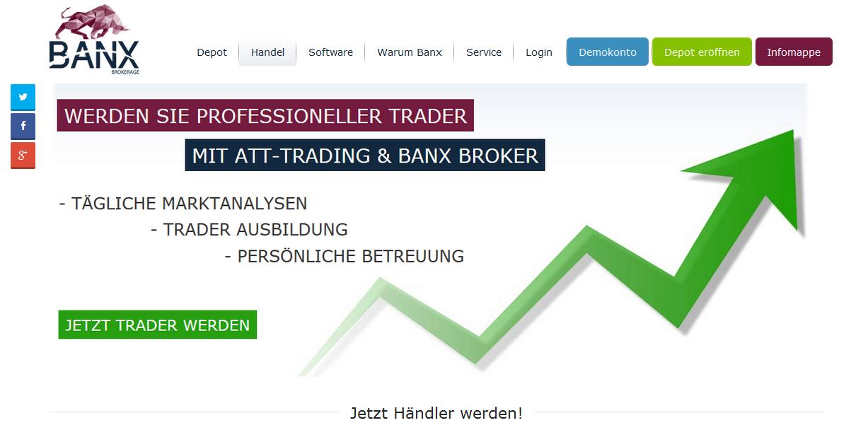 Die Webseite von BANX
