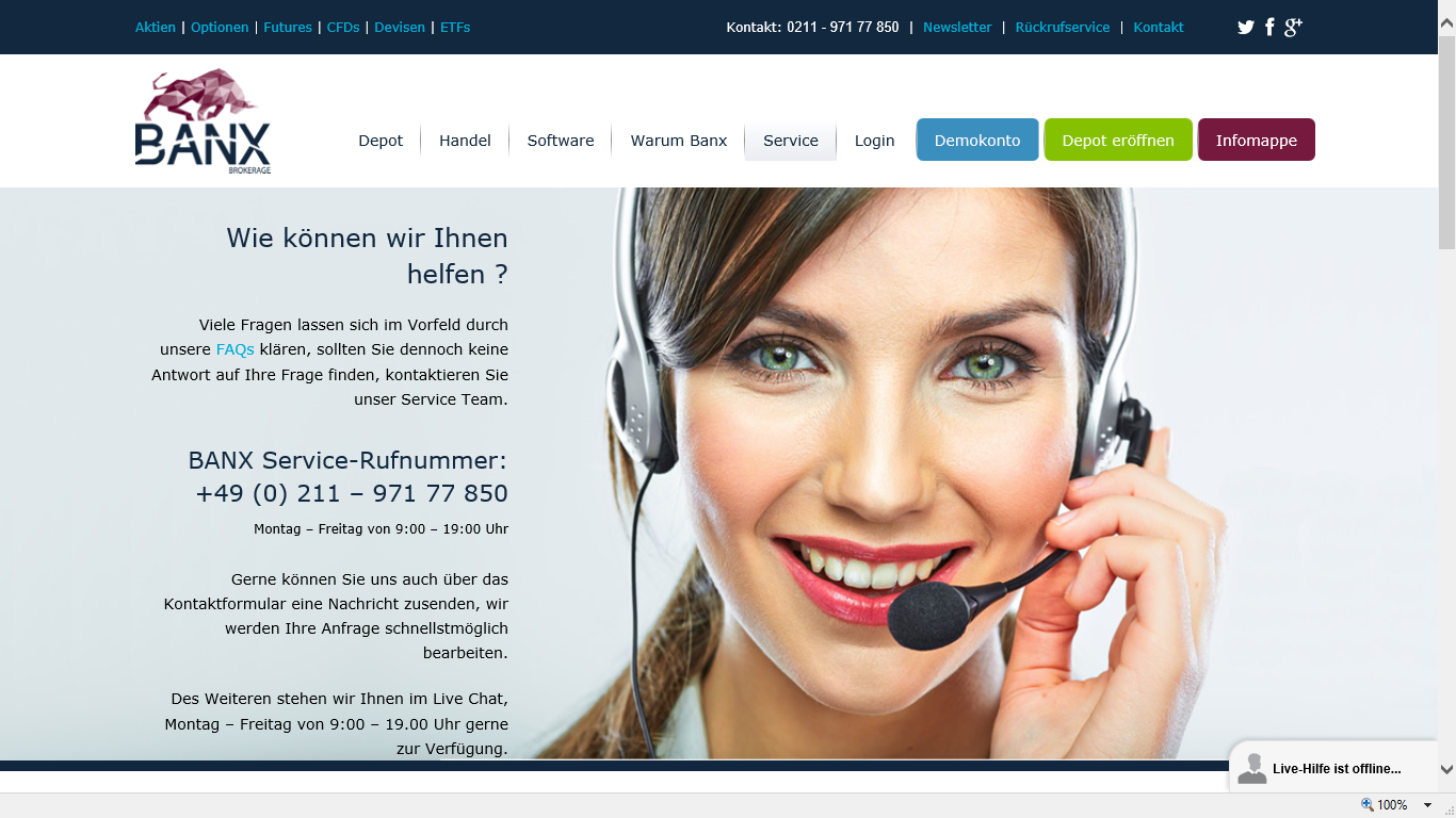 Kontakt Service-Mitarbeiter BANX