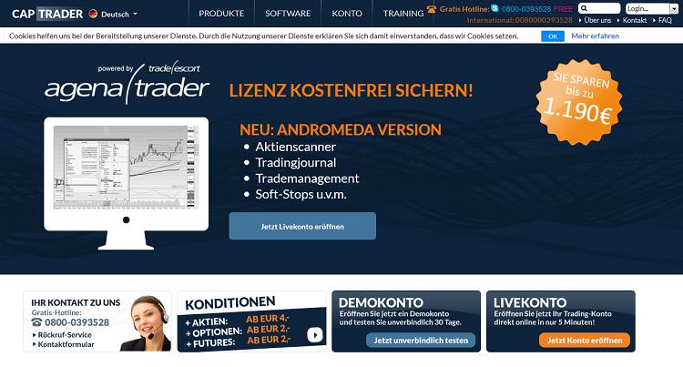 Der Webauftritt von CapTrader