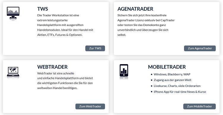 Mehrere Handelsanwendungen bei CapTrader