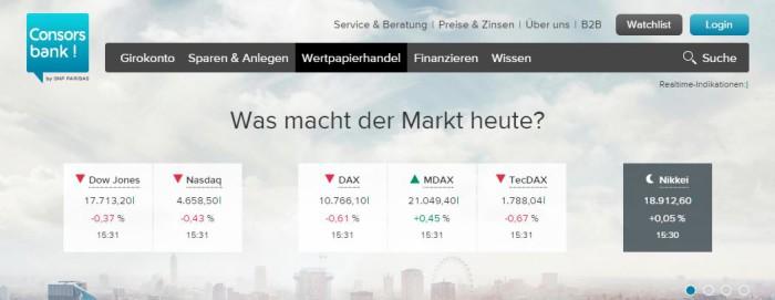 Consorsbank Marktüberblick