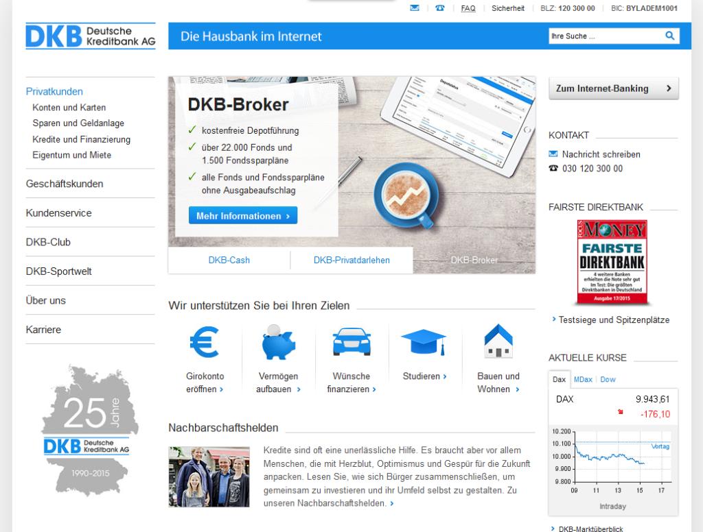 Webseite der DKB Bank