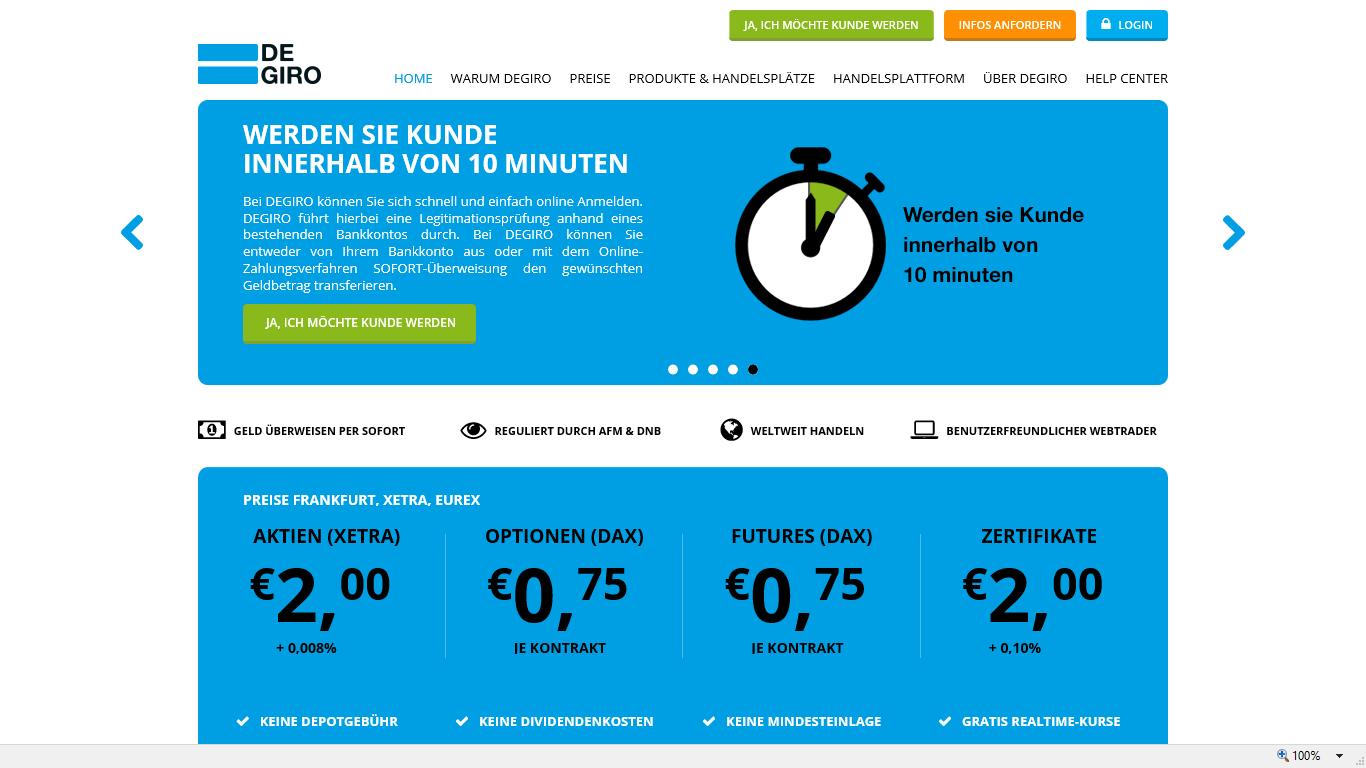 Degiro Depot online eröffnen