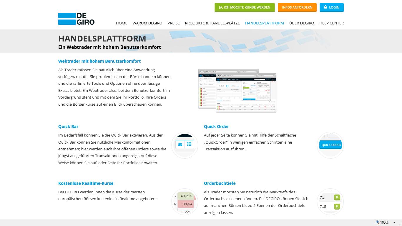 Degiro Handelsplattform mit hohem Benutzerkomfort