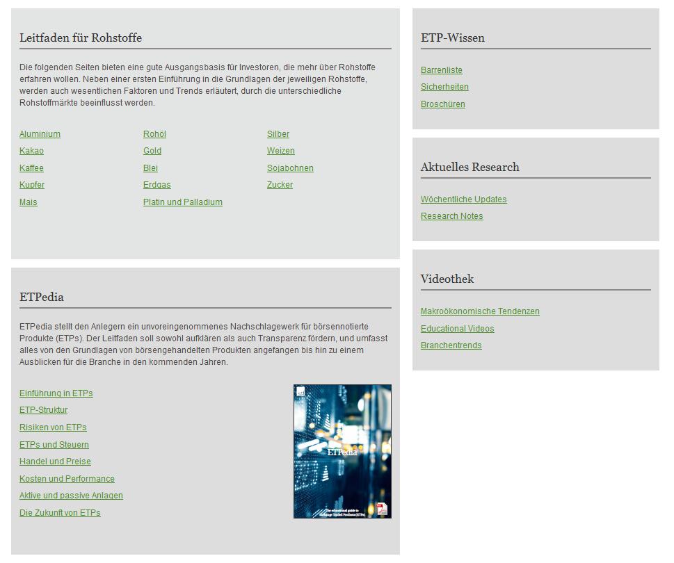 Bildungsangebot bei ETF Securities