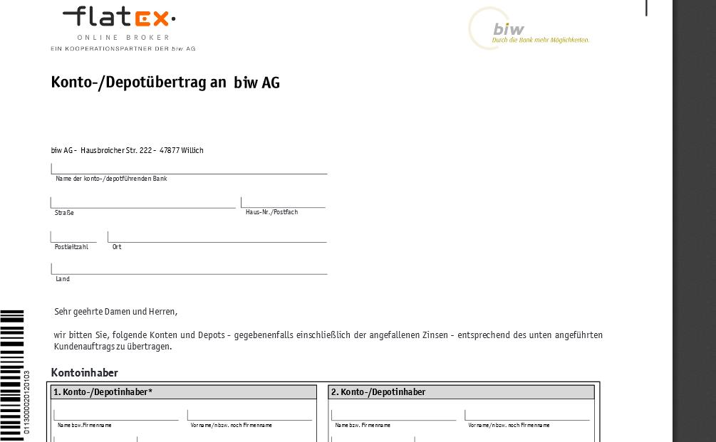 Auszug aus Formular für ein Depotübertrag zu flatex