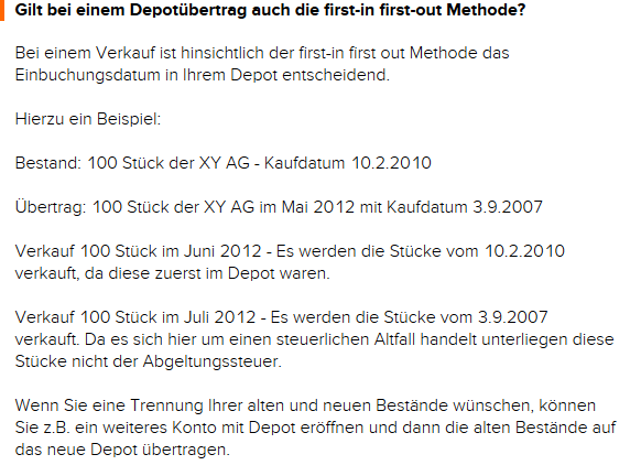 Depotübertrag mit first-in first-out Methode