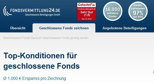 Fondsvermittlung24.de bietet geschlossene Fonds