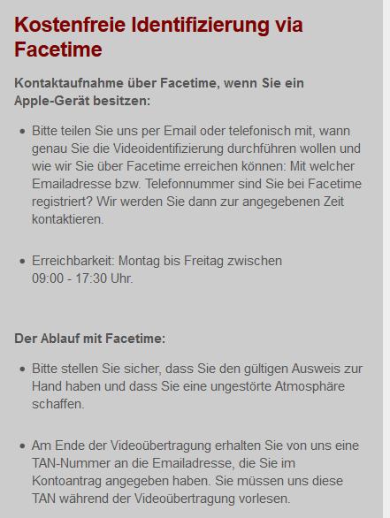 Anleitung von IG zur Identifizierung/Face Time