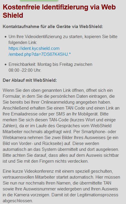 Hinweise von IG für die Identifizierung mit Web Shield