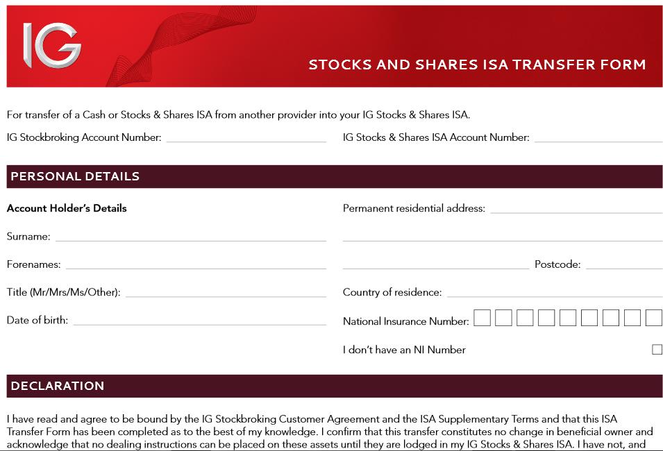Auszug aus dem Depotübertrag-Formular für britische Aktien