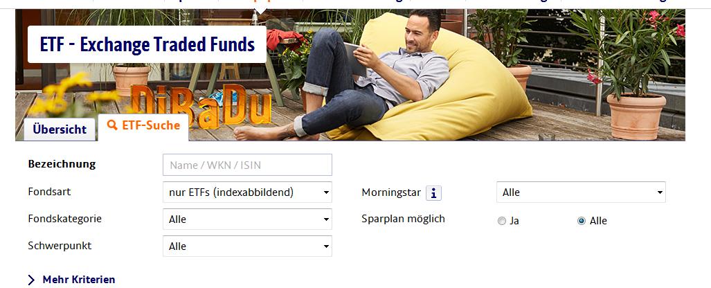 Die ETF-Suchfunktion von ING-DiBa