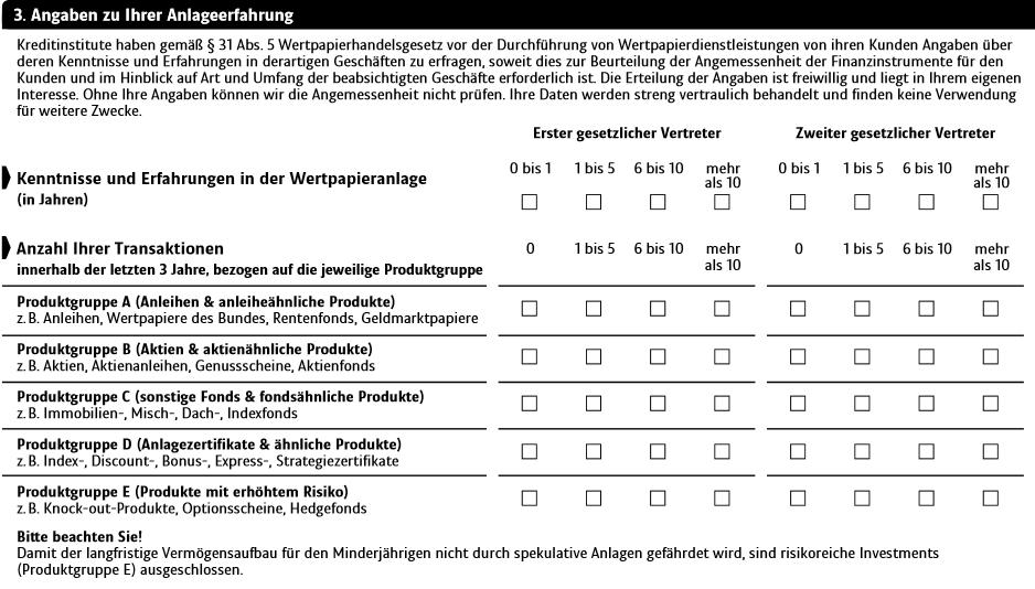 Fragebogen der ING-DiBa zur Anlageerfahrung