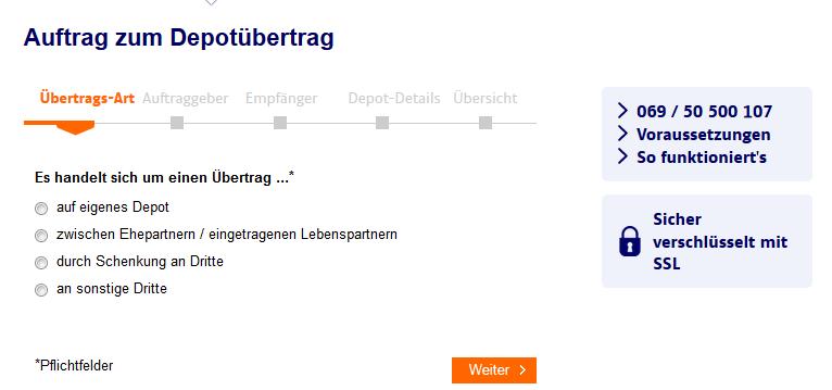 Auftragsformular zum Depotübertrag zur ING-DiBa