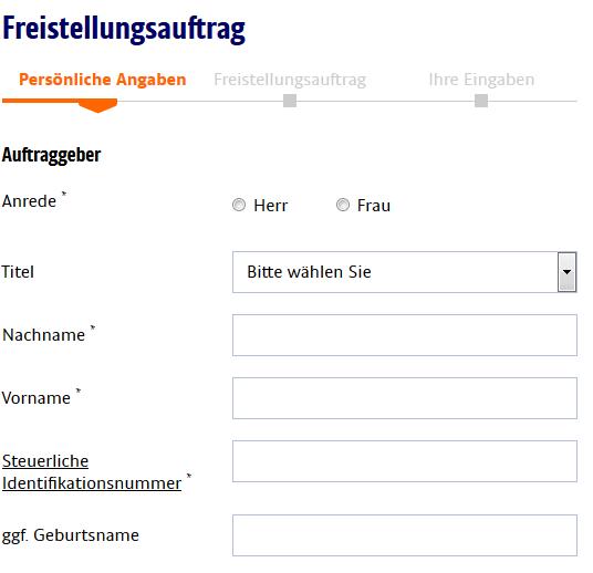 Online Formular der ING-DiBa zum Ausdrucken