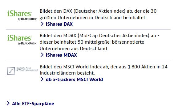 Ausgewählte ETF Sparpläne von ING-DiBa