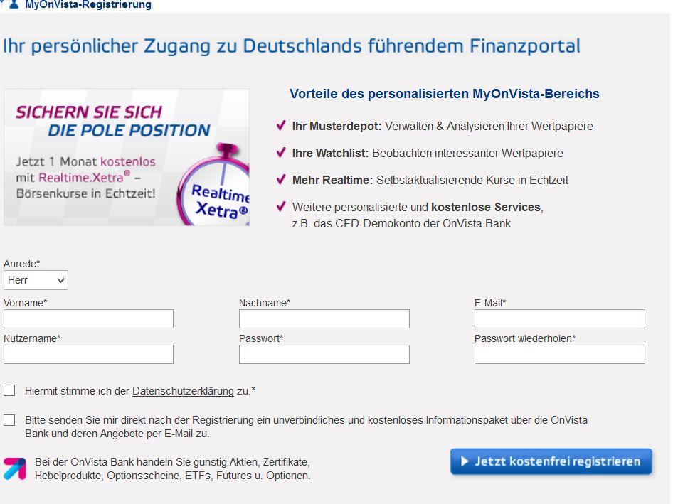 OnVista Bank Depot eröffnen mit Extraleistungen 1