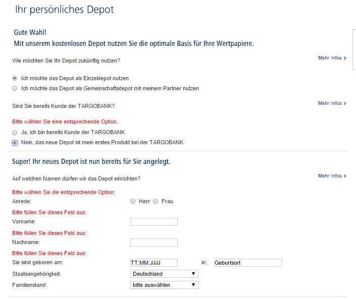 Schnelle Depotregistrierung online.