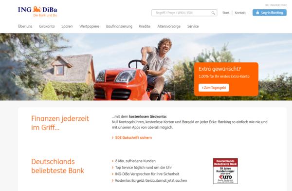 So sieht die Webseite von ING-DiBa aus