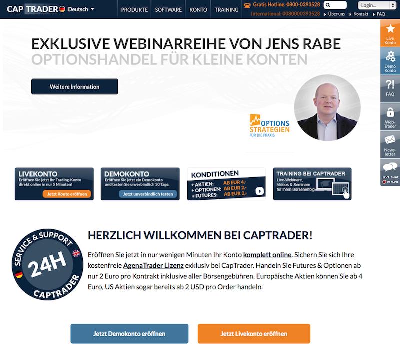 Der Web-Auftritt von CapTrader