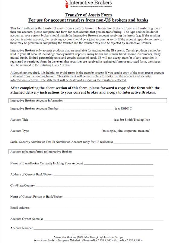 Das Online-Formular für einen Depotübertrag