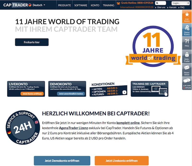 Die Homepage von CapTrader