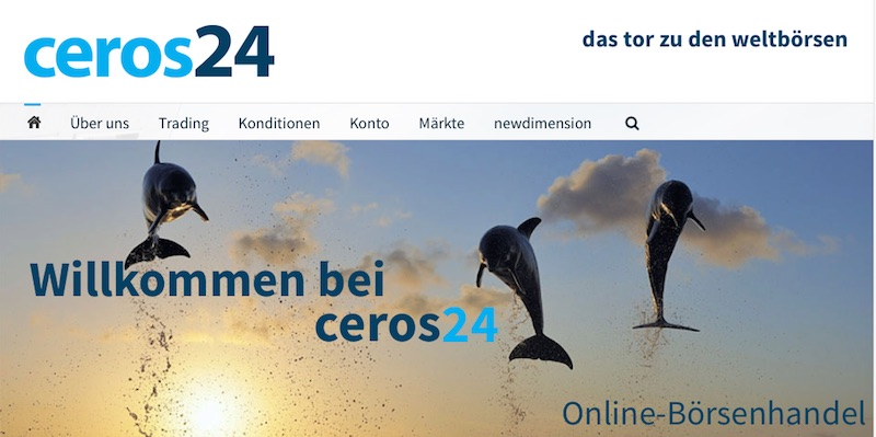 Die Homepage des Brokers ceros24