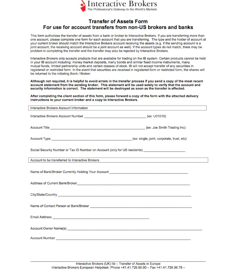 Das Online-formular für den Depotübertrag