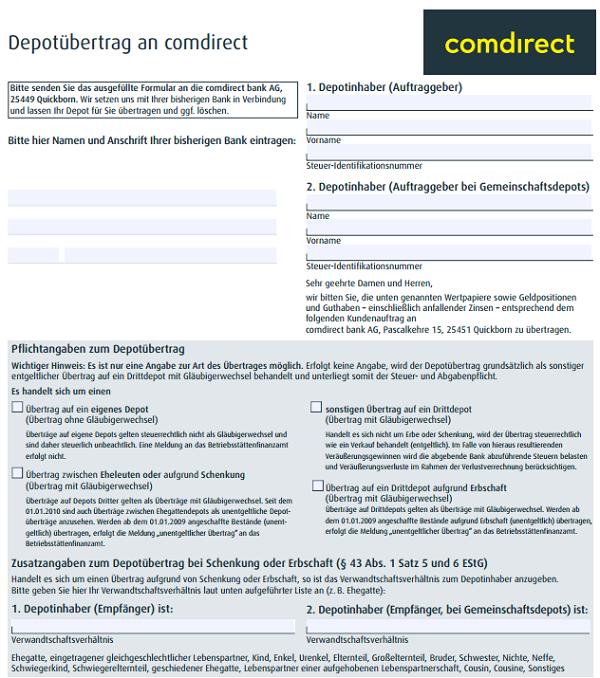Comdirect Depotwechsel 2019 Depotübertrag Jetzt Depot Wechseln