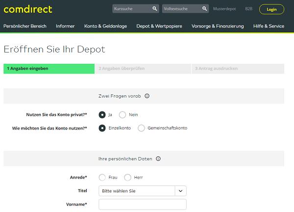 Das Online-Formular für die Depoteröffnung