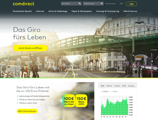 die comdirect Homepage