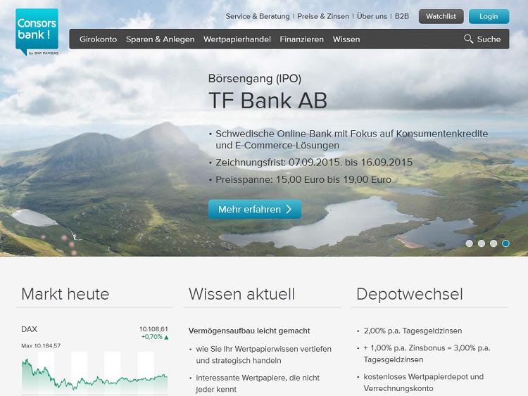 Die Webpräsenz der Consorsbank