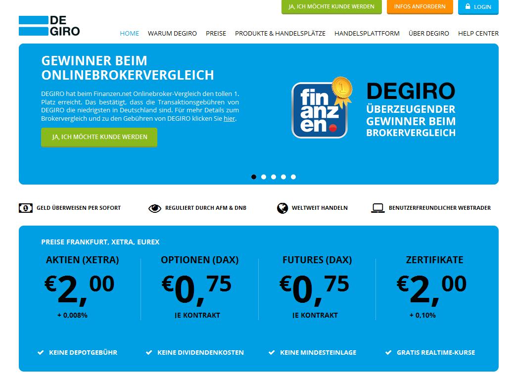 Die Webseite des Brokers Degiro