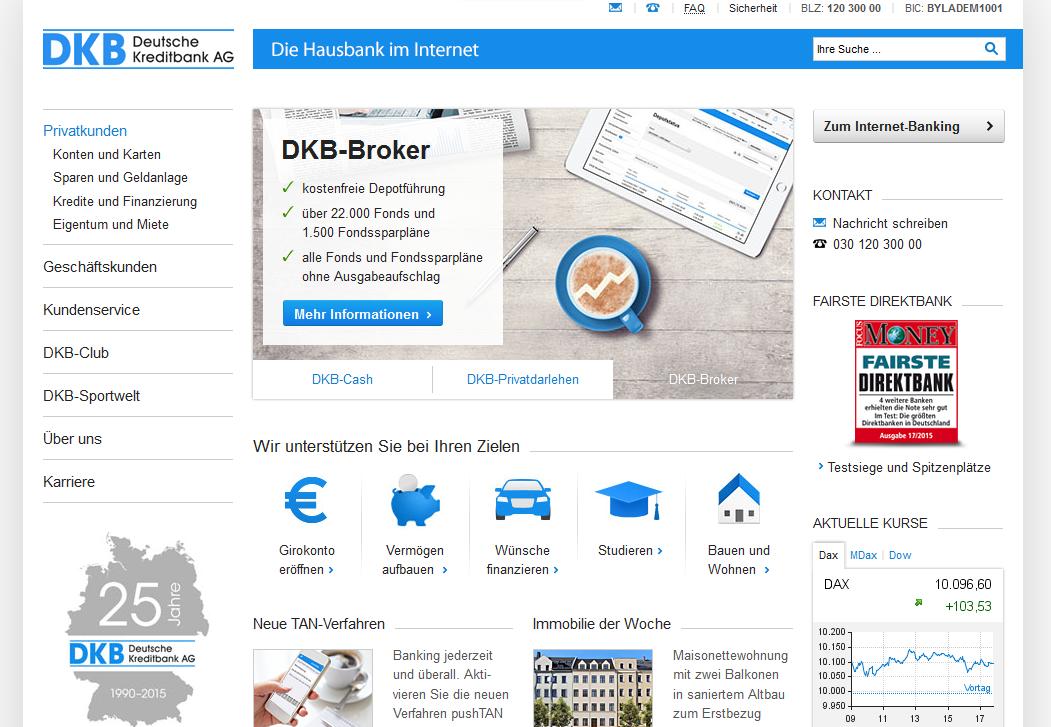 Der Webauftritt der DKB Bank