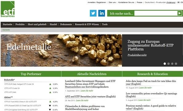 ETF Securities Screenshot der Startseite
