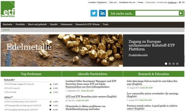ETF Securities Übersicht der Startseite