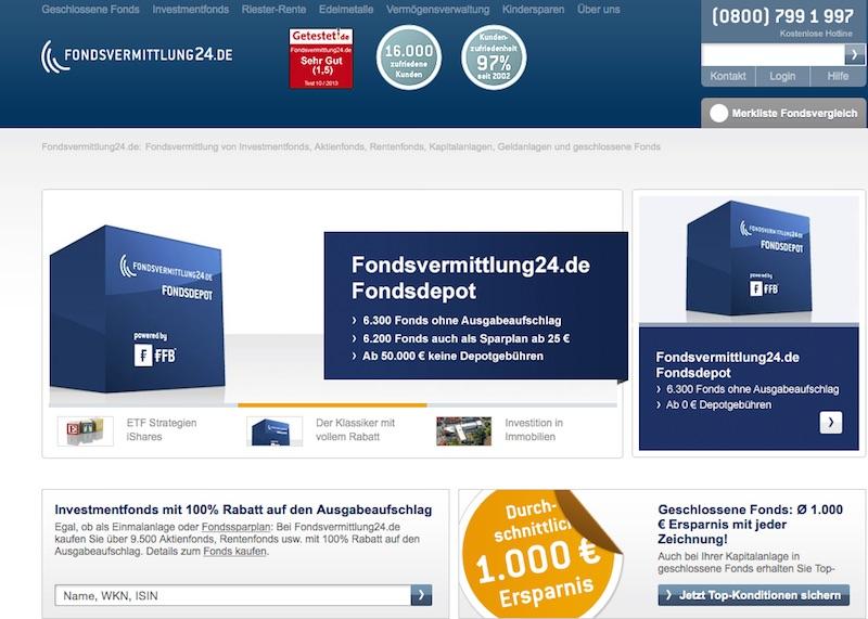 Der Web-Auftritt von Fondsvermittlung24.de