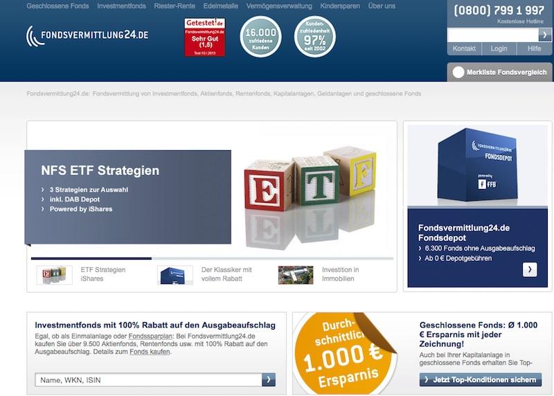 Die Website von Fondsvermittlung24.de