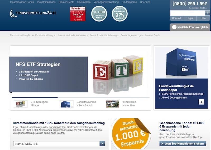 Die Homepage von Fondsvermittlung24.de
