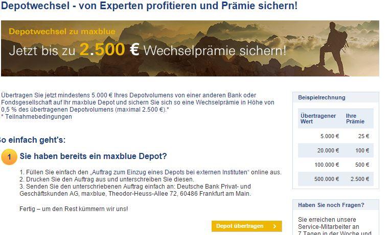 Depotwechsel zu maxblue: Guter Sprung.