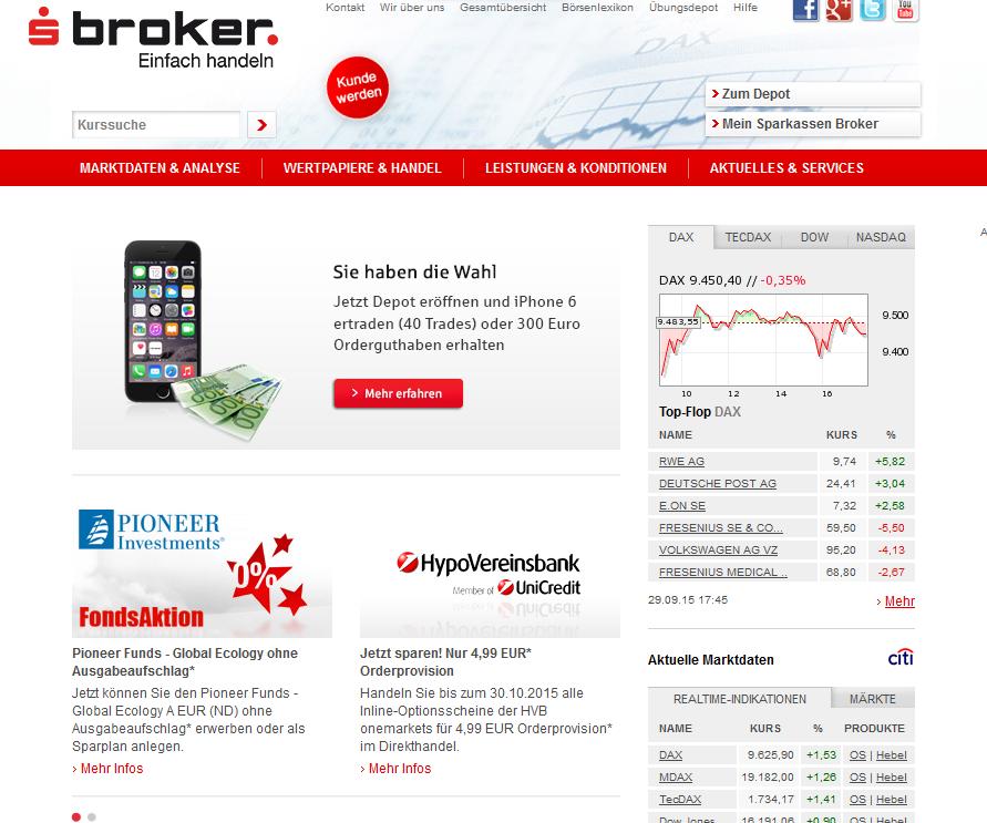 Die Webpräsenz von S Broker