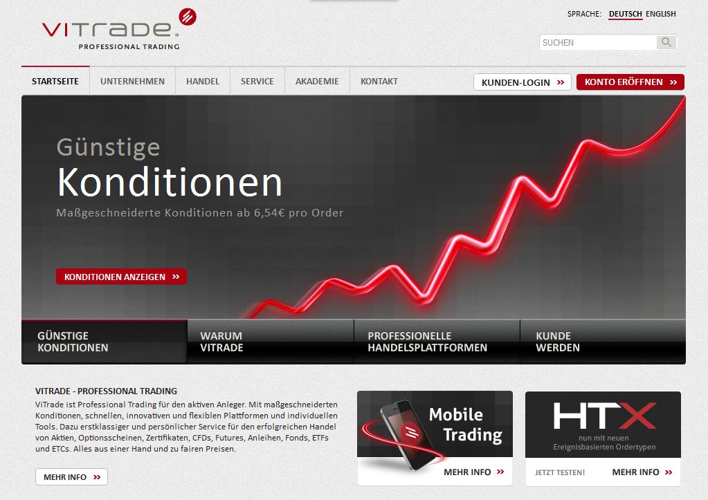 Die Webseite von ViTrade