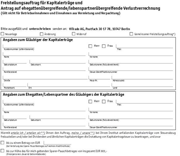 ViTrade Formular für Freistellungsauftrag