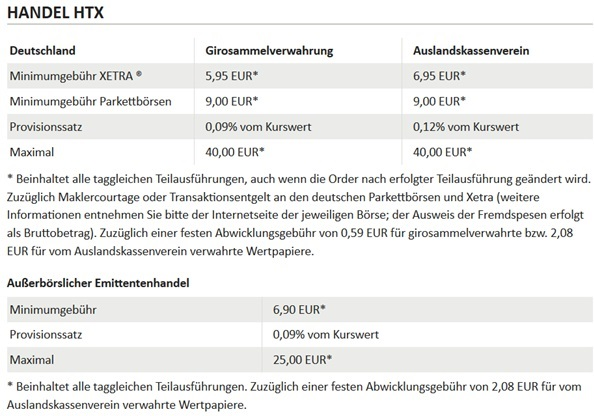 ViTrade Kosten für Transaktionen