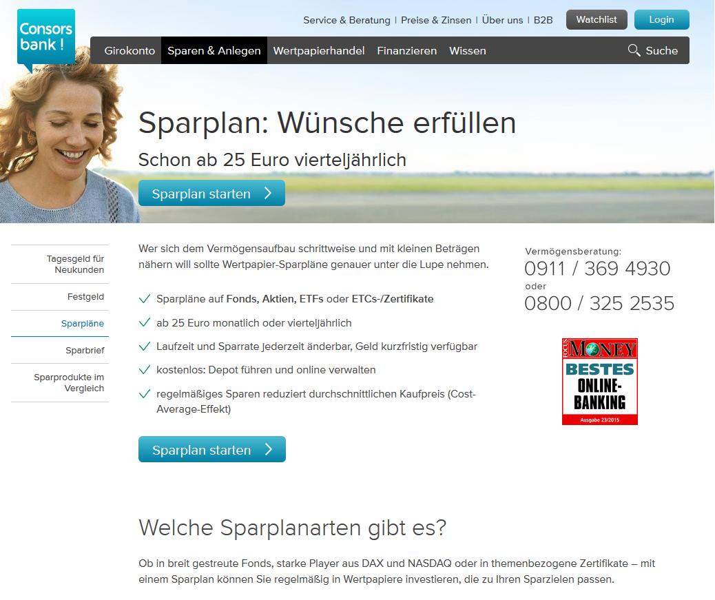 Sparpläne bei der Consorsbank ab 25 Euro