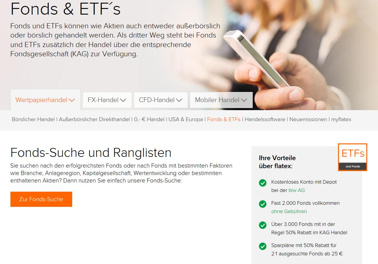 Informationen zu Fonds und ETFs bei Flatex