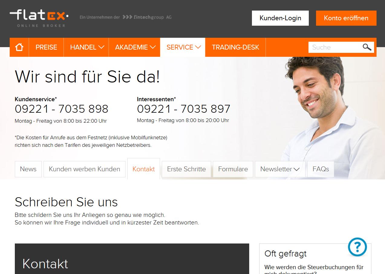 Der Kundensupport ist per Telefon und Kontaktformular erreichbar