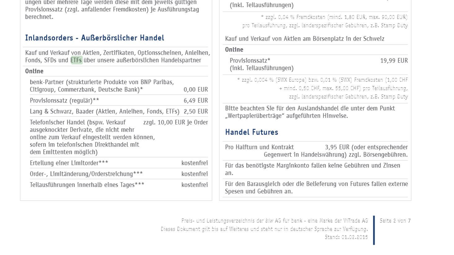 Das Preis- und Leistungsverzeichnis von benk