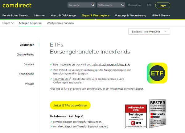 ETFs bei comdirect im Überblick